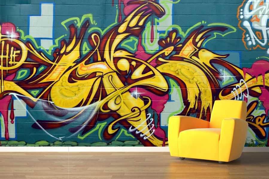 Blue And Yellow Graffiti Wallpaper Wall Mural Muralswallpaper 1941 899x599