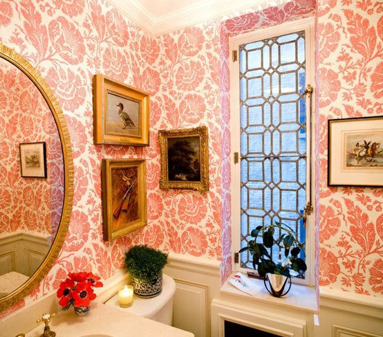 Lee Jofa Wallpaper in a powder room 554x487