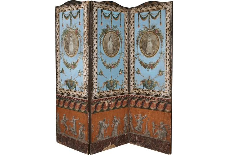 Circa 1860 French 3 panel hand painted screen decorated with drawings 736x501