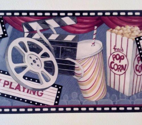 Movie Theater Game Room Feature Presentation Pop Corn Wallpaper Border 500x438