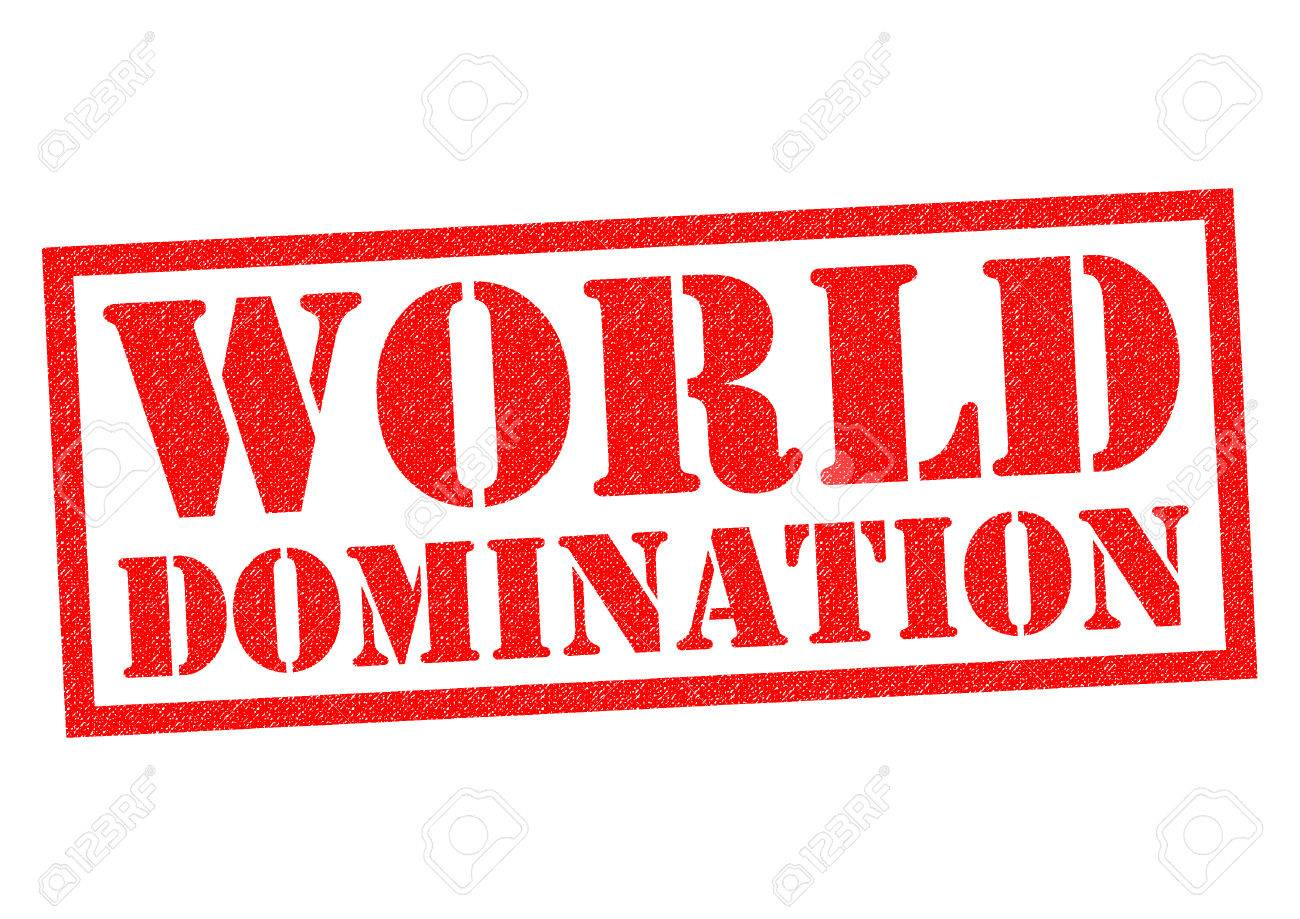 WORLD DOMINATION Red Rubber Stamp Over A White Background Stock 1300x919
