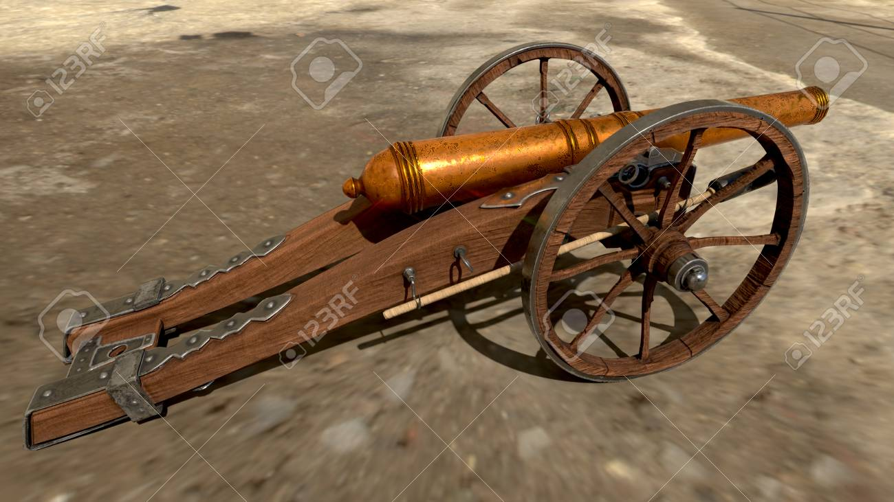 Medieval Cannon Isolated On Beatiful Background 3D Rendering 1300x731