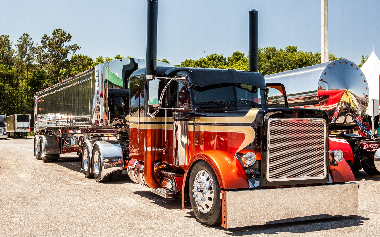 tractor trailer semi big rig custom tuning wallpaper background 2880x1800