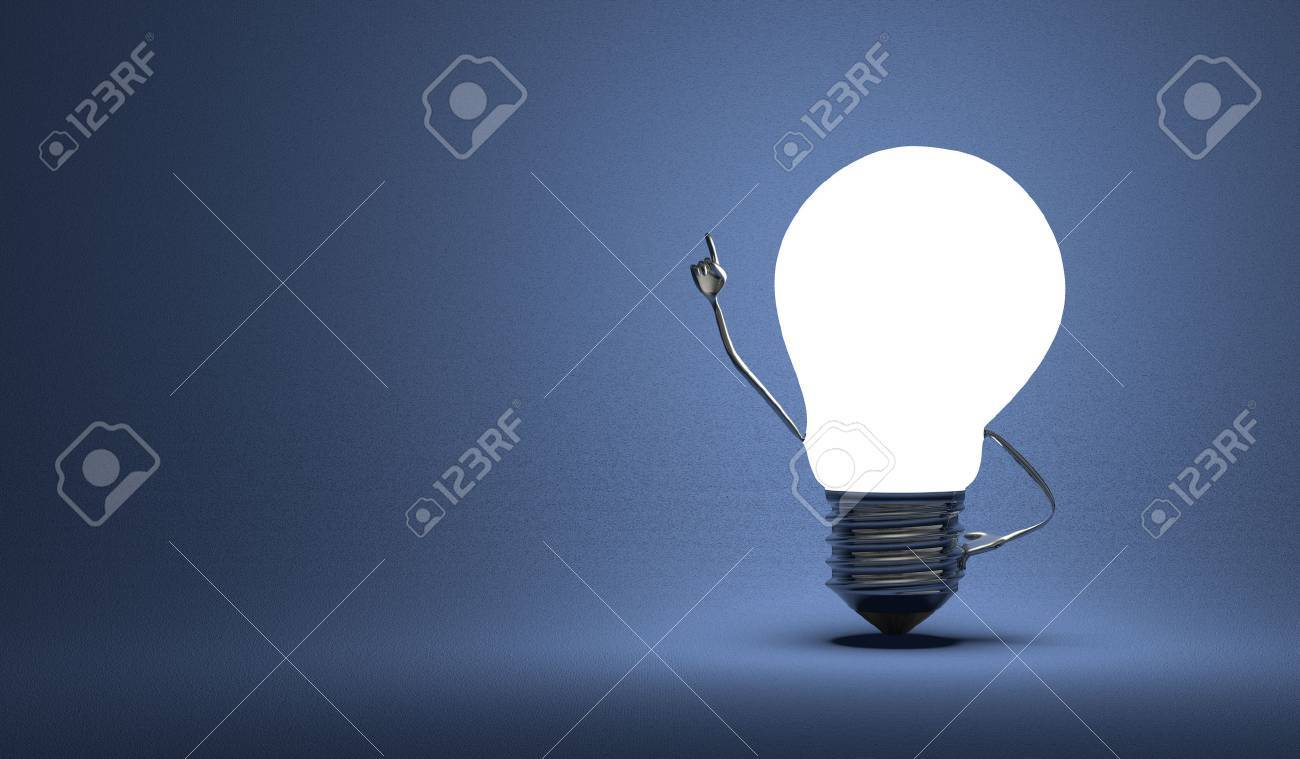 Glowing Light Bulb Character In Moment Of Insight On Dark Blue 1300x759