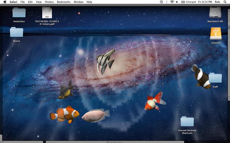 Mac OS APPDesktop Aquarium 3D LIVE Wallpaper ScreenSaver 800x500