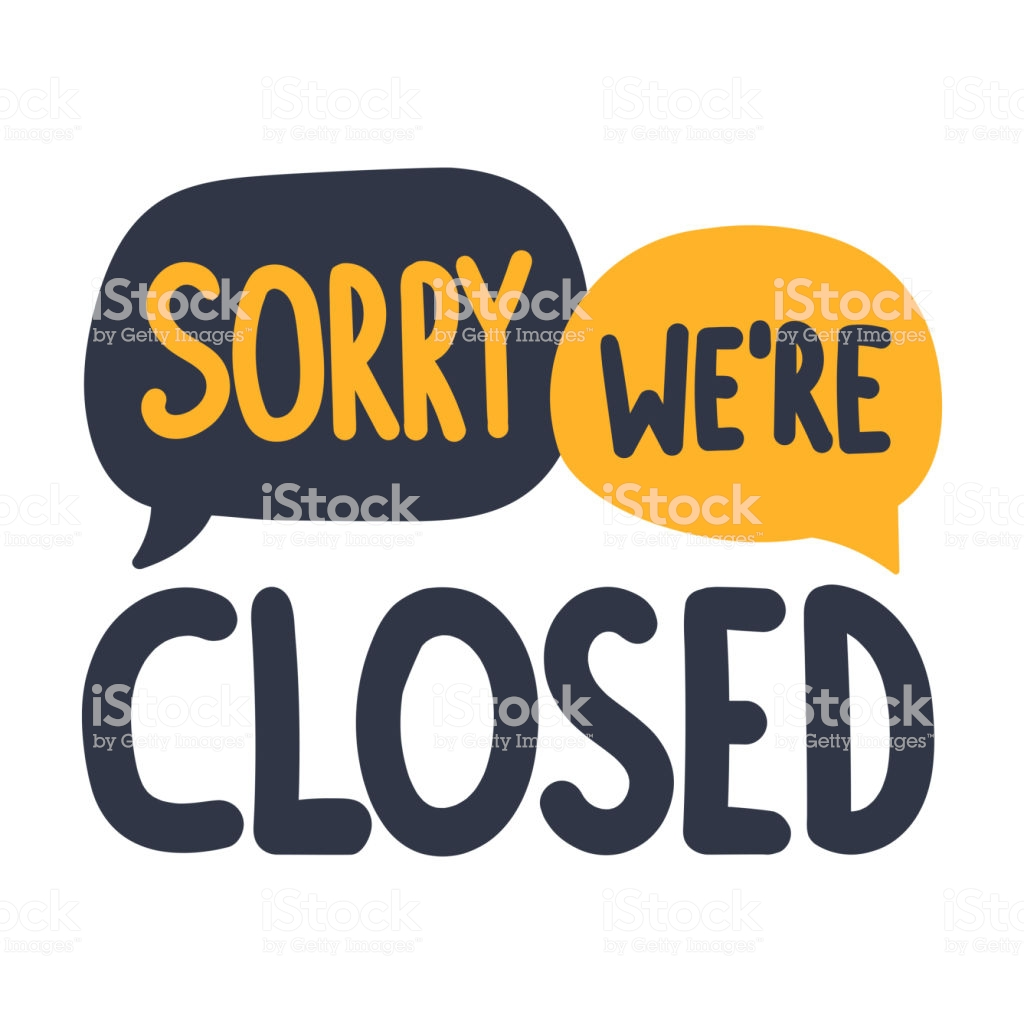 Sorry Were Closed Vector Illustration On White Background Stock 1024x1024