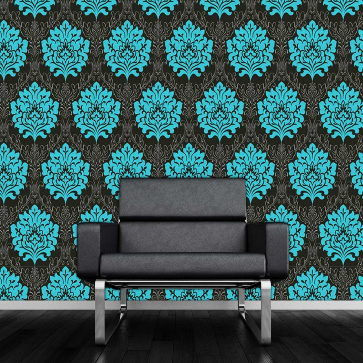 Shop By Style Damask Marrakesh Teal Black Damask Wallpaper 1200x1200