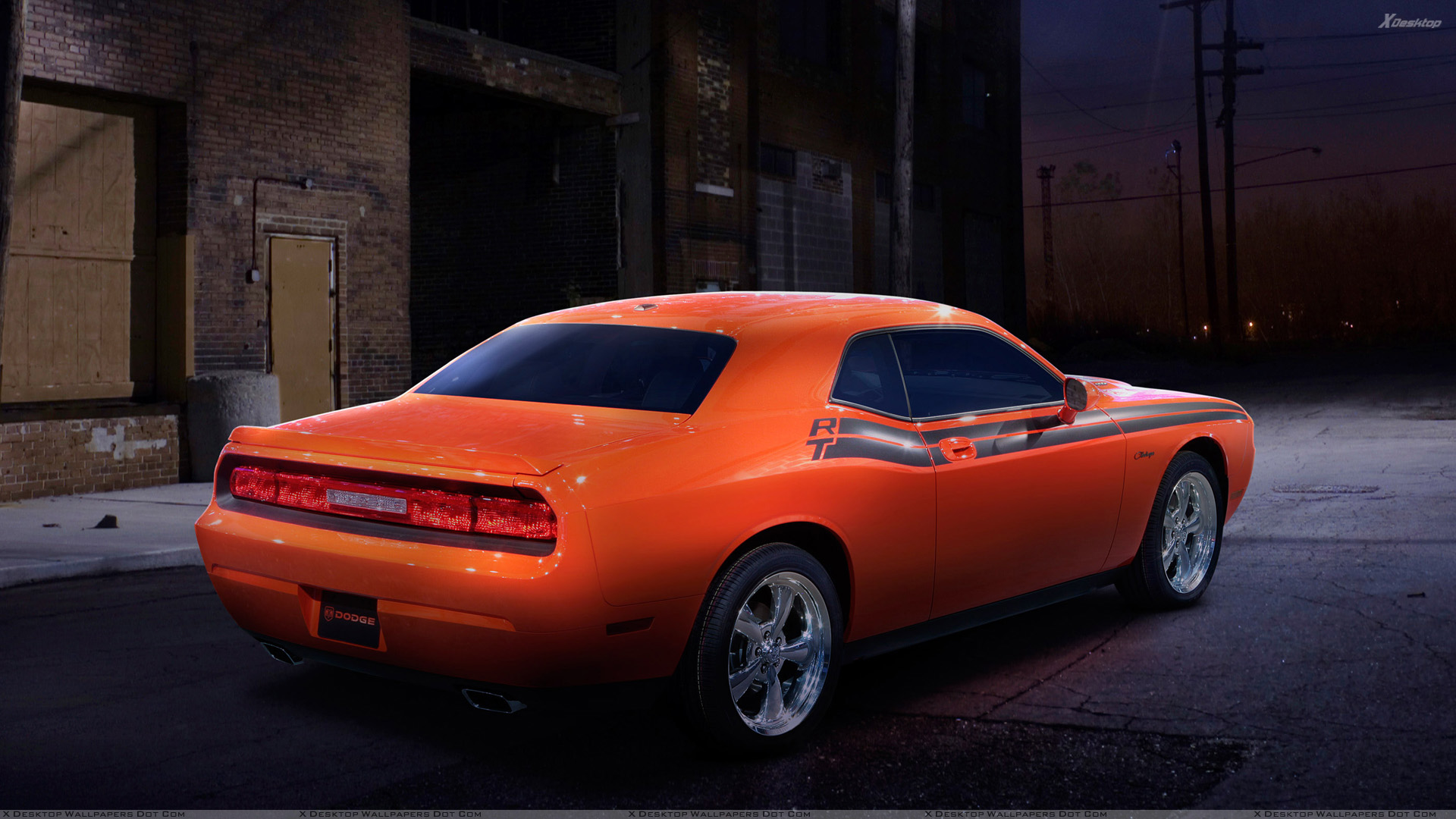2009 Dodge Challenger RT Classic In Orange Side Back Pose Wallpaper 1920x1080