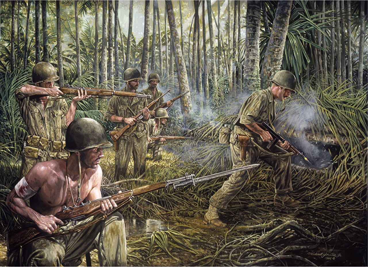 Picture Papua New Guinea 1942 Painting Art Army 1280x931