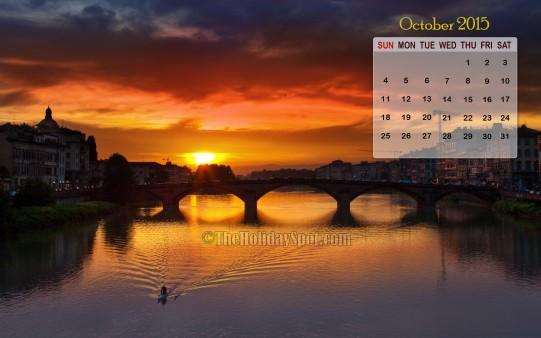 Month wise Calender Wallpapers Sunset   October Calendar 2015 541x338
