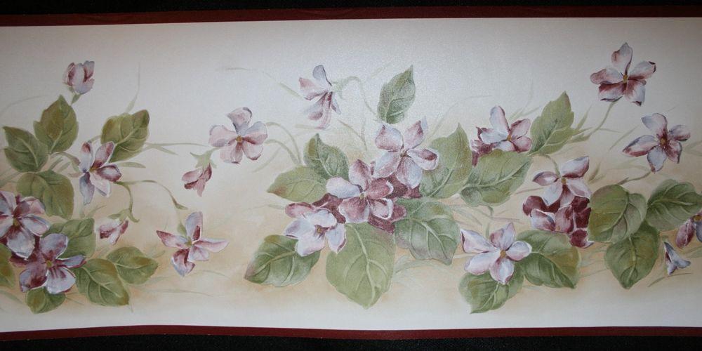 Wallpaper Border New Gorgeous Wine Burgundy Floral Vine eBay 1000x500