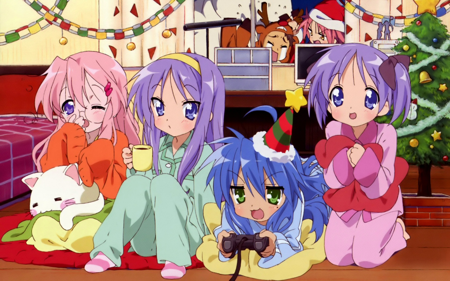 Muryou Anime Wallpaper Lucky Star Lucky Star Christmas Party 1440x900