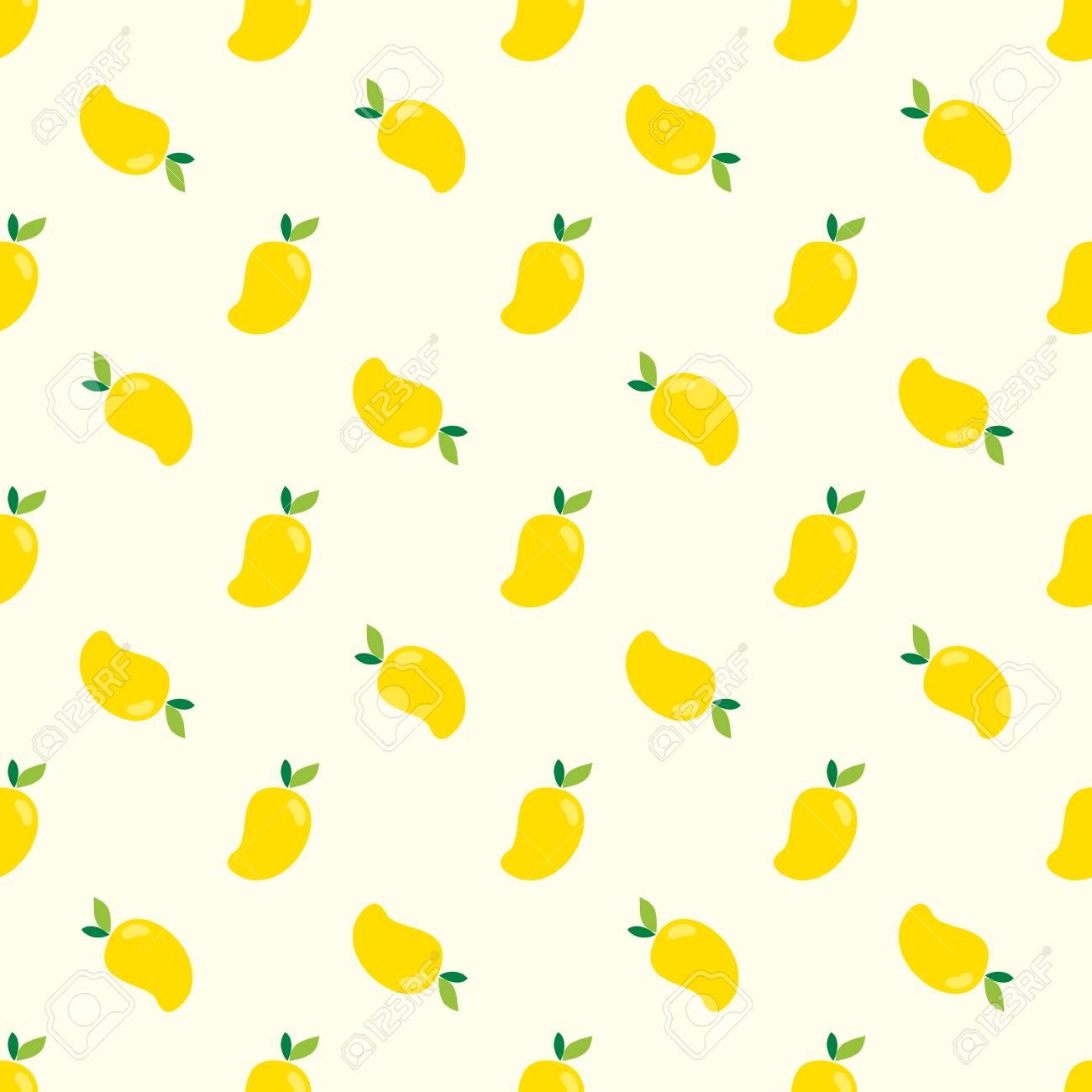 Seamless Mango Pattern Yellow Mangoes Background For Print 1300x1300