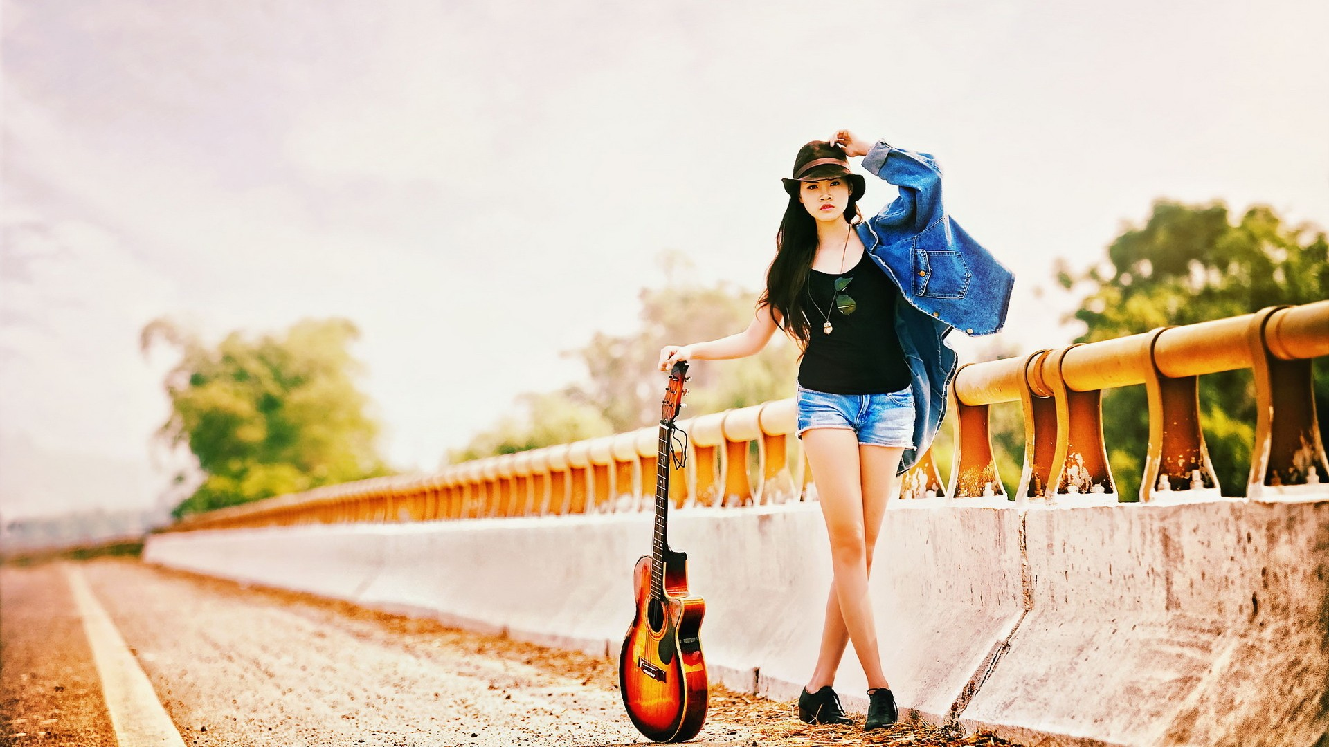 Guitar Girl   Wallpaper High Definition High Quality Widescreen 1920x1080