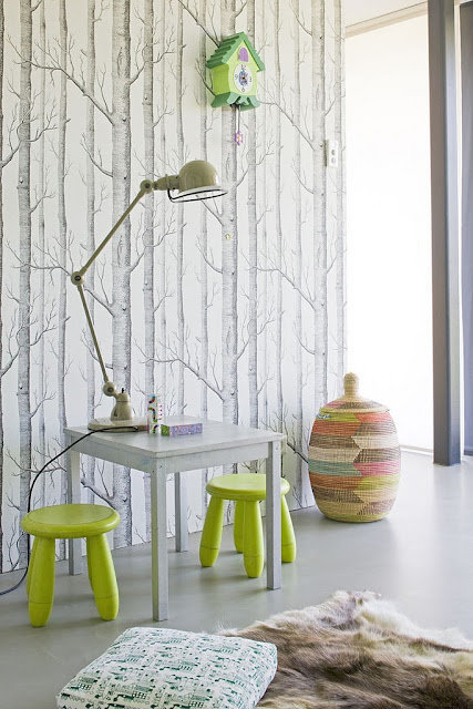 In a kids playroom the wallpaper transforms into an eye catching 427x640