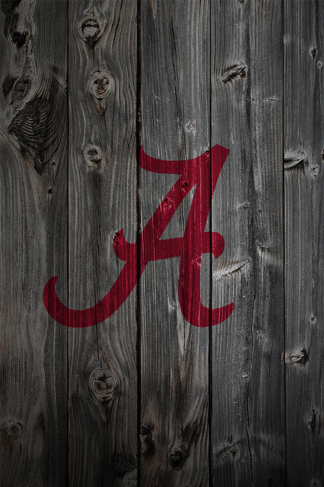 Alabama Crimson Tide Logo on Wood Background   iPhone 4 wallpaper 640x960