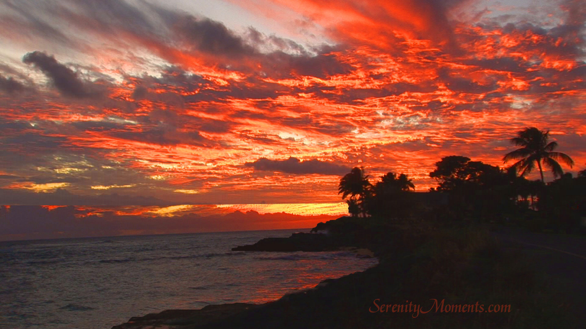 Poipou Sunset Kauai Screensaver 1920x1080
