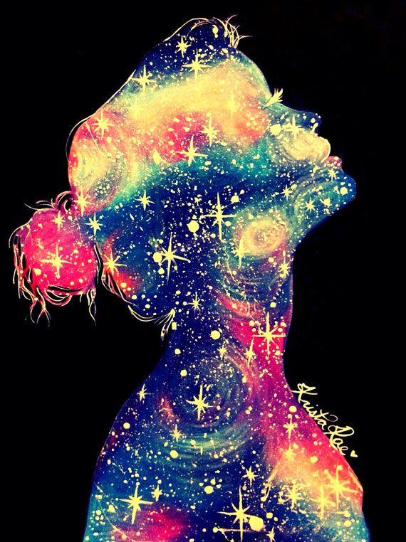 Galaxy Girl Print Galaxies Stars and Girls 570x762