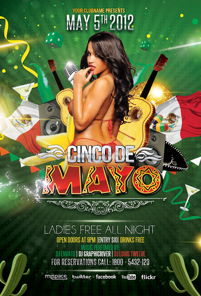 Cinco de Mayo Party   Flyer Template 2 by LouisTwelve 400x588
