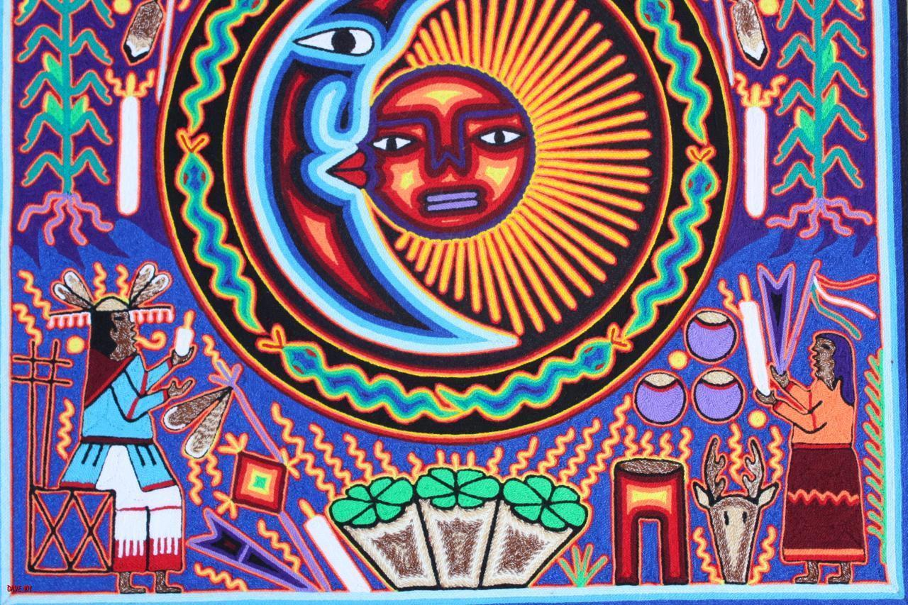 NEW MEXICAN 24x24 HUICHOL YARN PAINTING NATIVE CRAFT Images 1280x853