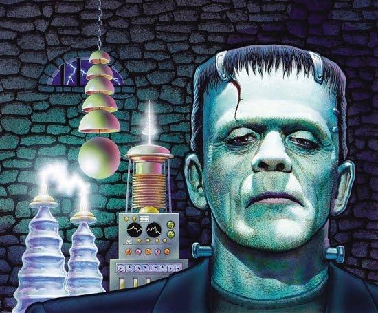 The Bride along with her famous beau and fellow Universal Monsters 550x455