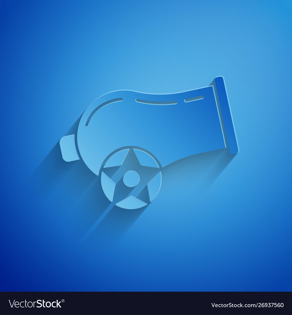 Paper cut cannon icon isolated on blue background Vector Image 1000x1080