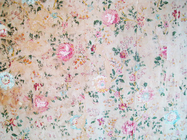 Floral wallpaper found on the wall under layers of paint in library 600x450