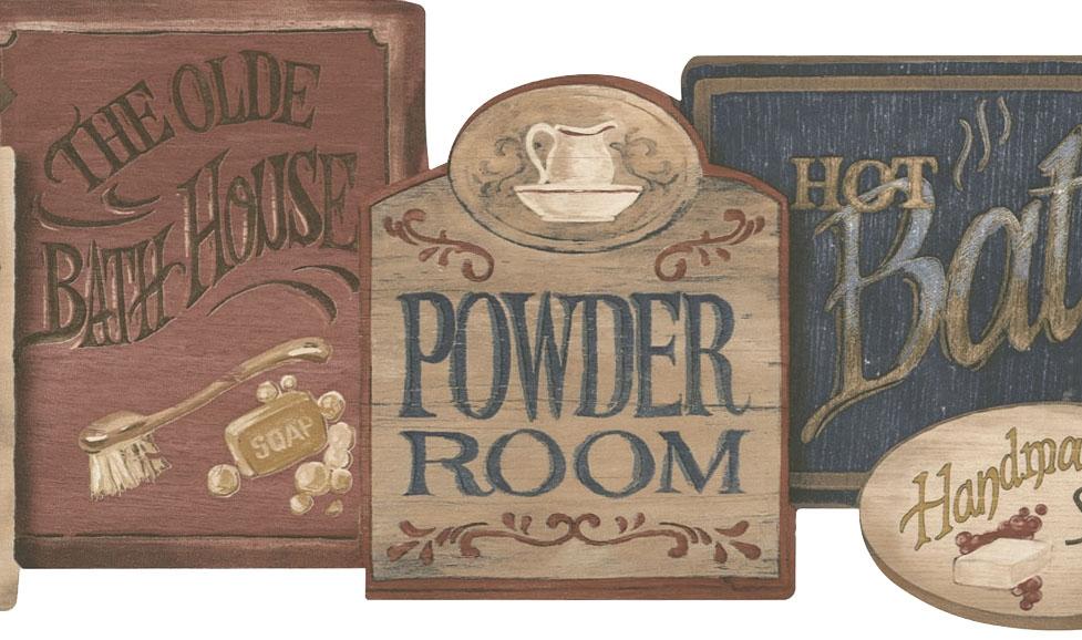 Bath Sign Wallpaper Border PV5115B vintage bathroom signs 977x578