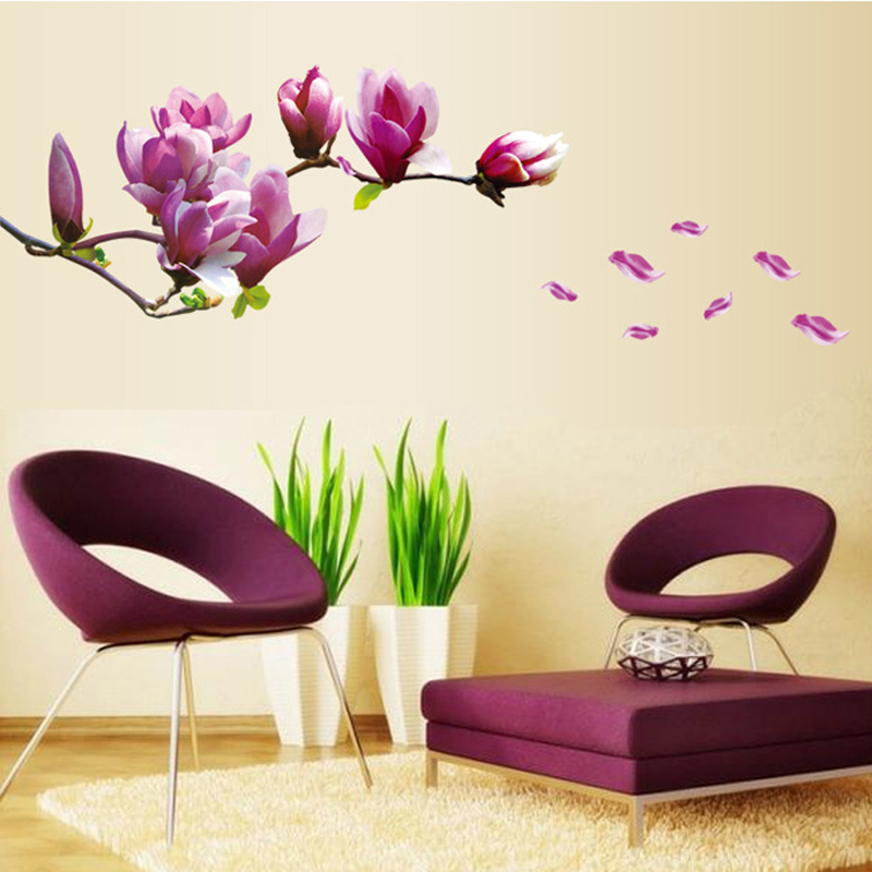 Min Order 9 9 Purple Magnolia Flower Wall Stickers Wallpaper Removable 800x800