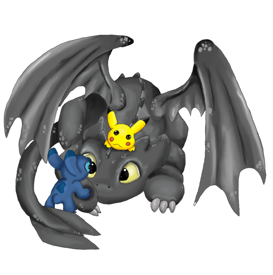 toothless pikachu and stitch by mdbruin 900x909