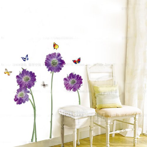 Hunnt Purple Flower Butterfly Removable Quote Vinyl Room Wall Decals 500x500