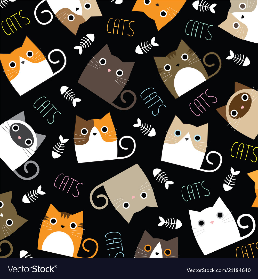 Cute cats wallpaper Royalty Vector Image   VectorStock 1000x1080