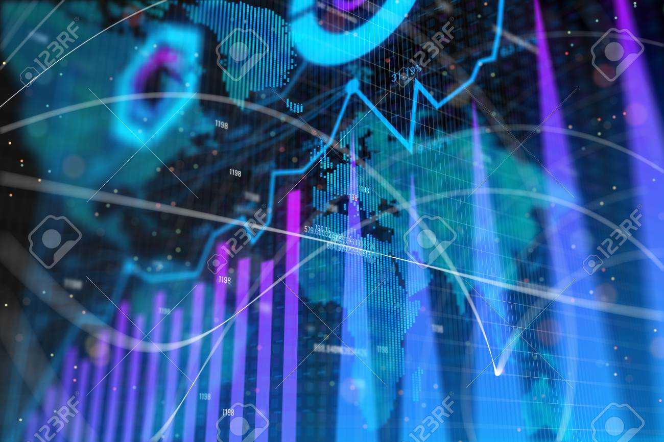 Abstract Glowing Forex Background With Map Global Business 1300x866