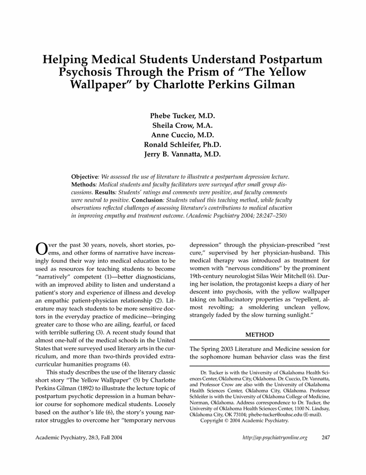 an analysis of the apotheosis of womanhood in charlotte perkins gilmans the yellow wallpaper Characterization, rights, women - oppression of women in charlotte perkins gilman's the yellow wallpaper.