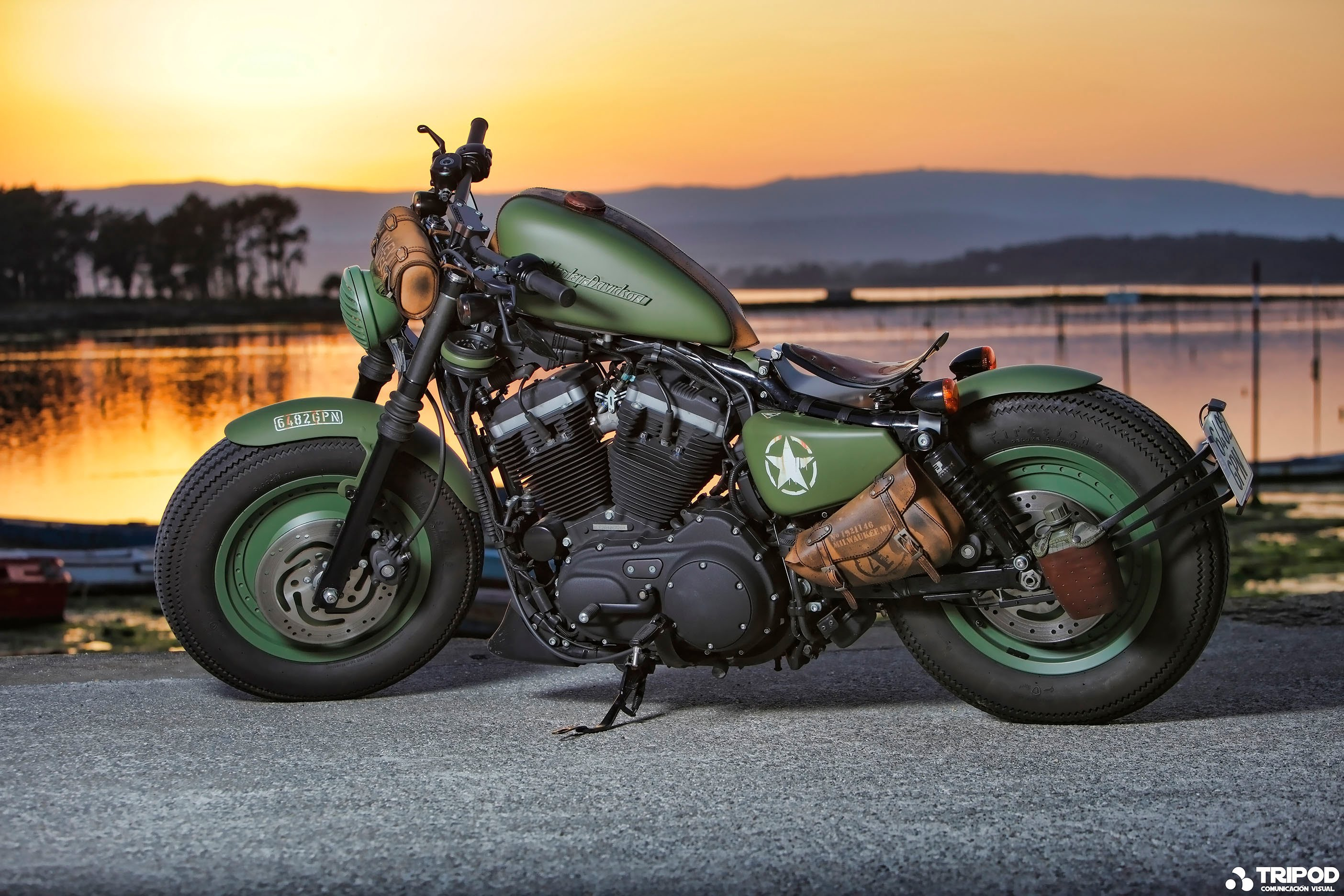 Harley Davidson Sportster Iron 883 Army look stage II 2808x1872