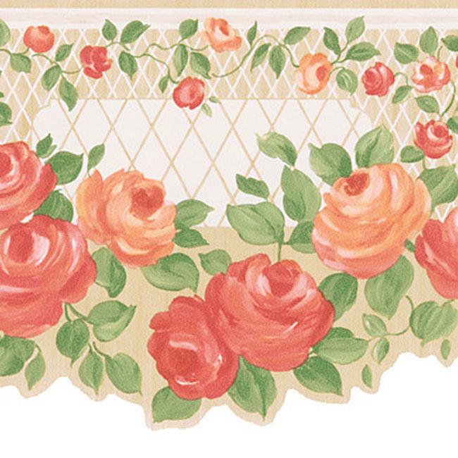 Peach Floral Trellis Border Wallpaper eBay 650x650