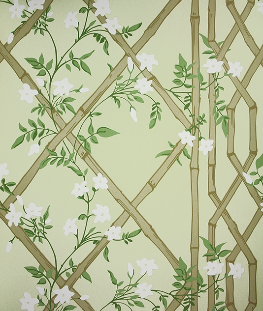 Jasmine Lattice Wallpaper A decorative wallpaper featuring a floral 534x633