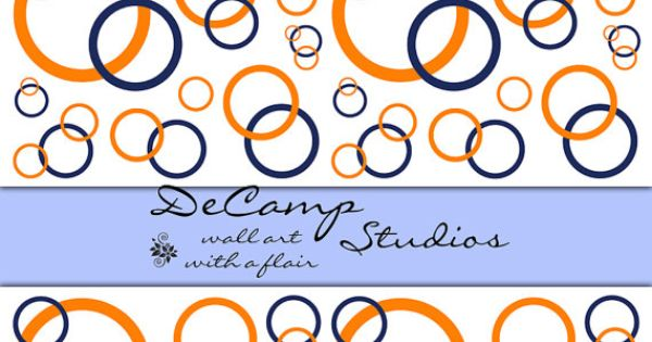 Navy Blue and Coral Orange Circle wallpaper border wall decals for 600x315