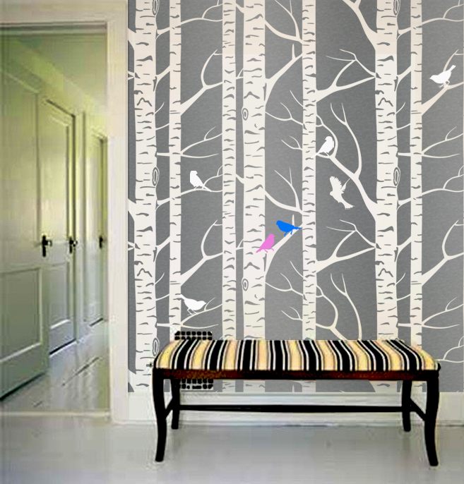 Wallpaper Stencil Tree Forest Branches birds Designer Pattern for 657x686