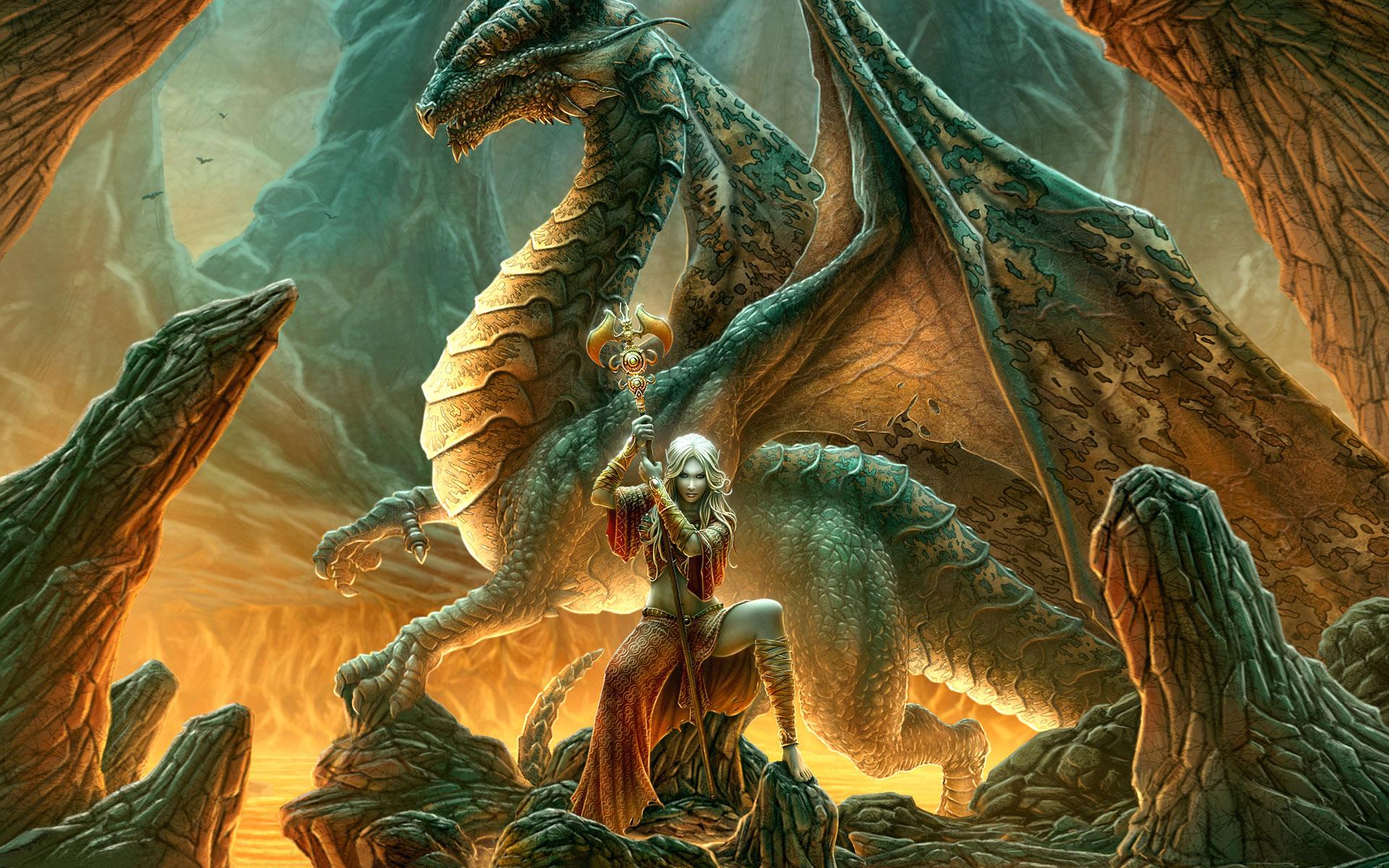 free desktop wallpaper of fantasy warrior princess and dragon 1920x1200