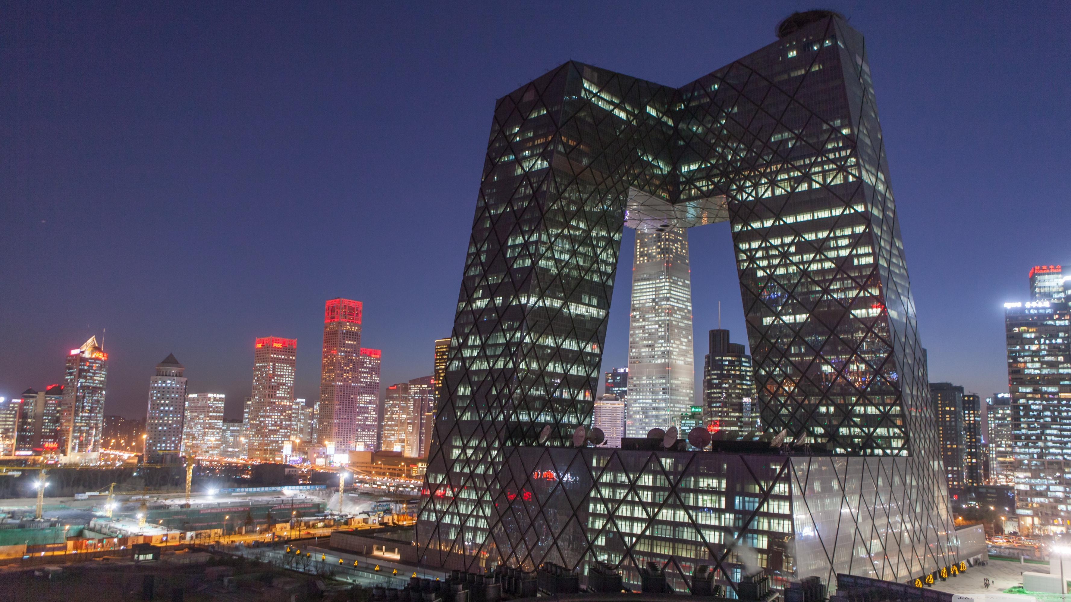 CCTV Building Beijing China 4K HD Desktop Wallpaper for 4K 3554x1999