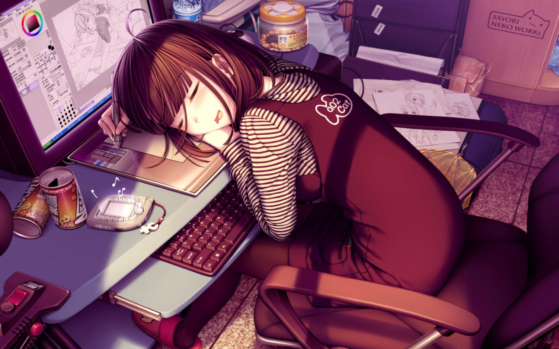 tags girl computer anime desk manga anime girl sleeping date 13 06 07 1920x1200