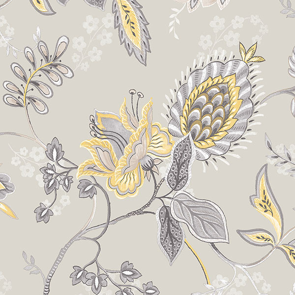 Free Download Large Floral In Grey And Yellow Gc29829