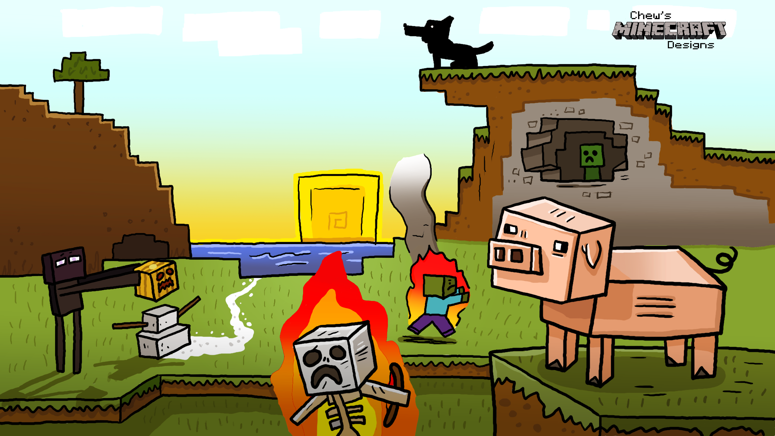 wallpaper by chewtoons on youtube Photo in Abedanger Minecraft 2560x1440