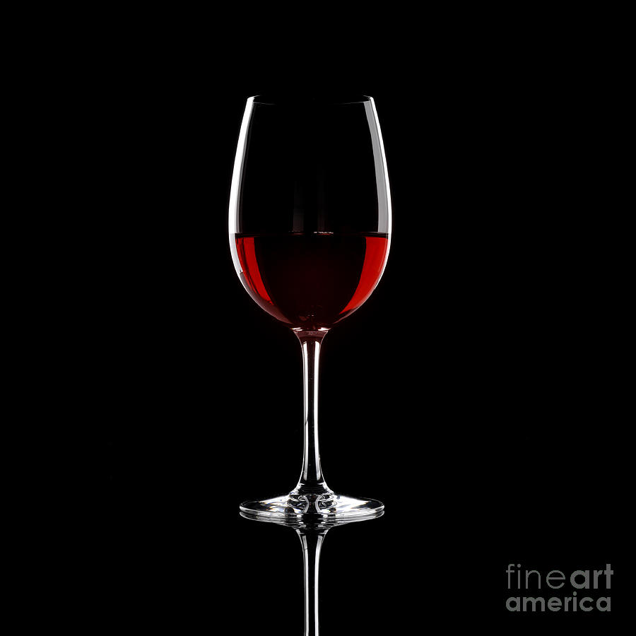 Glass Of Red Wine On Black Background Photograph by Josep Maria 900x900