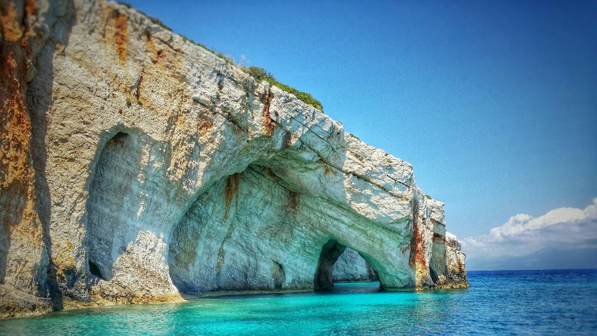 Blue Caves Zakynthos Island Greece Background Wallpaper 27150 1920x1080