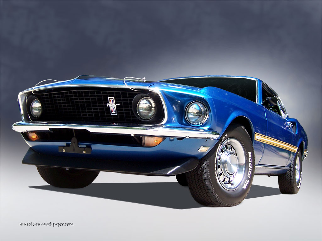 1969 Ford Mustang Mach 1   Blue Fastback Wallpaper 1024 08 1024x768