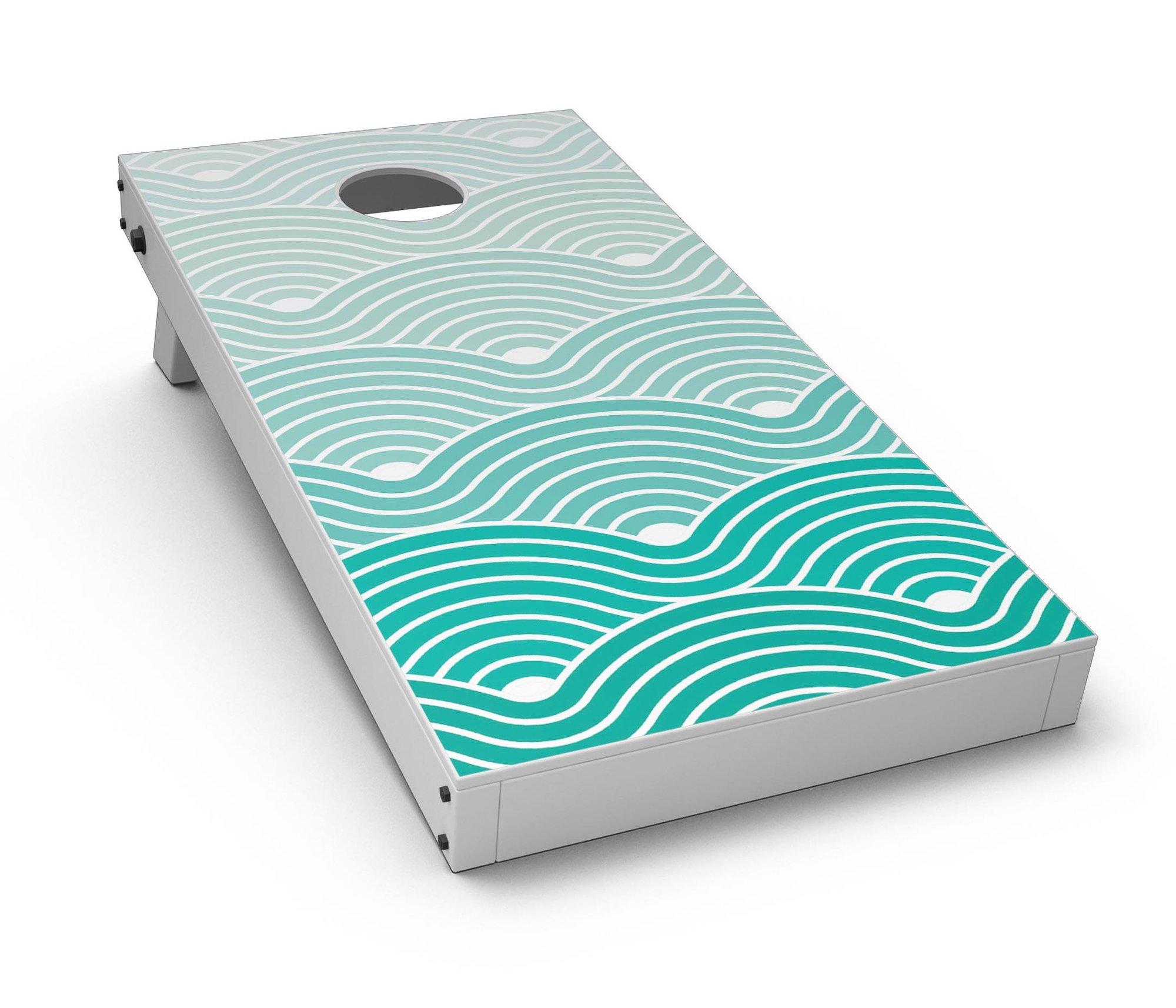 Beach Hotel Wallpaper Waves CornHole Board Skin Decal Kit 2000x1714