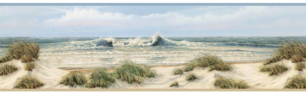 Dunes Wallpaper Border Coastal Ocean Waves Scenic Landscape eBay 1000x309