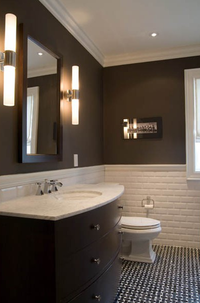 backsplash chocolate brown walls curvy brown single bathroom 393x594